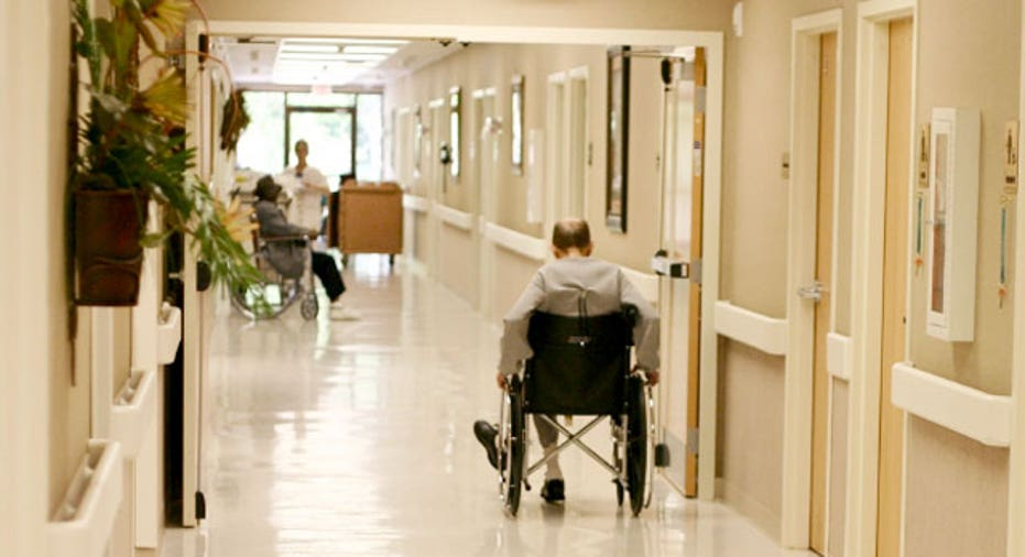 Elderly Man in a Wheelchair at a Nursing Home