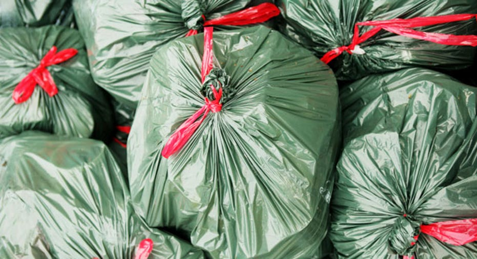 Stack of Green Garbage Bags