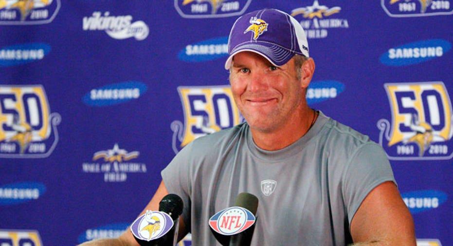 NFL Quarterback Brett Favre at a Press Conference
