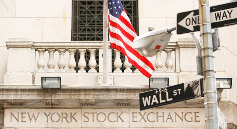 New York Stock Exchange With Wall Street Sign