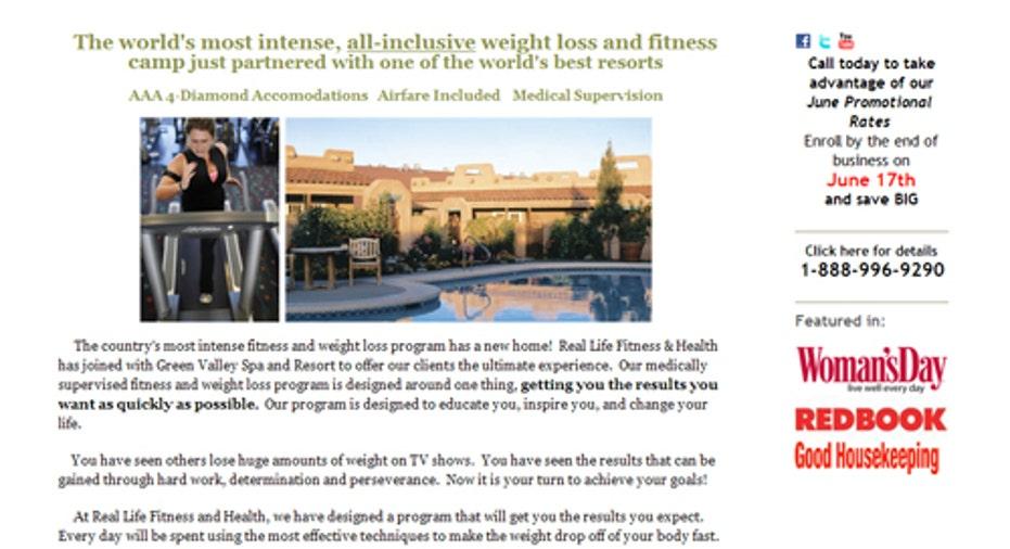 Real Life Fitness Health Homepage, PF Slideshow