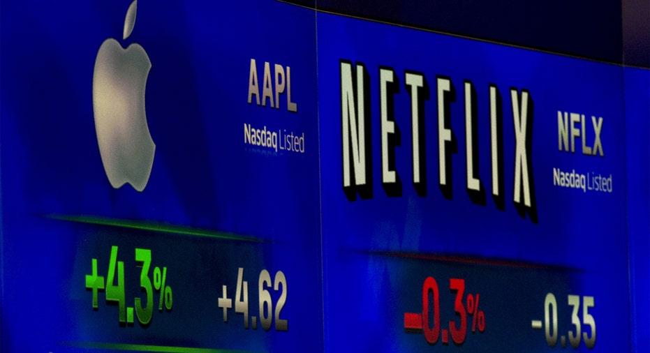 Apple Netflix Nasdaq logos FBN
