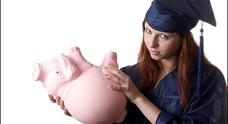 College Loan Empty Piggy Bank