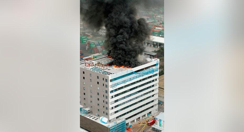 Tokyo Office Building in Flames, vertical