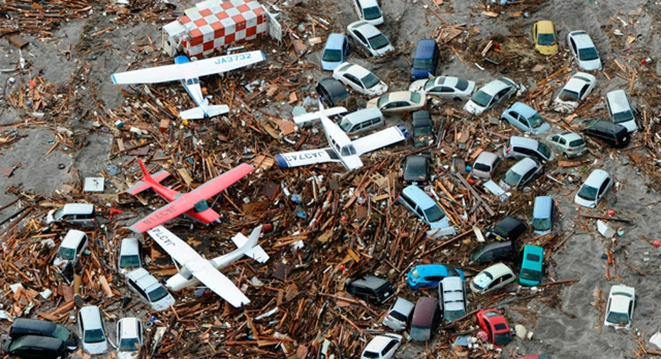 Cars and Airplanes Swept by a tsunami