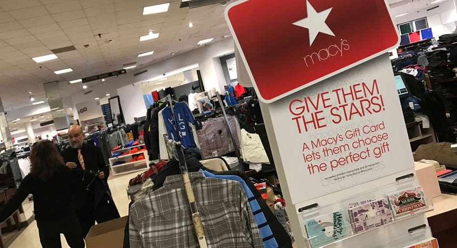 Macy's shoppers, shirt rack, gift cards FBN