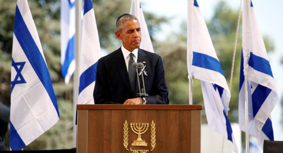 Obama at Peres Funeral  Reuters