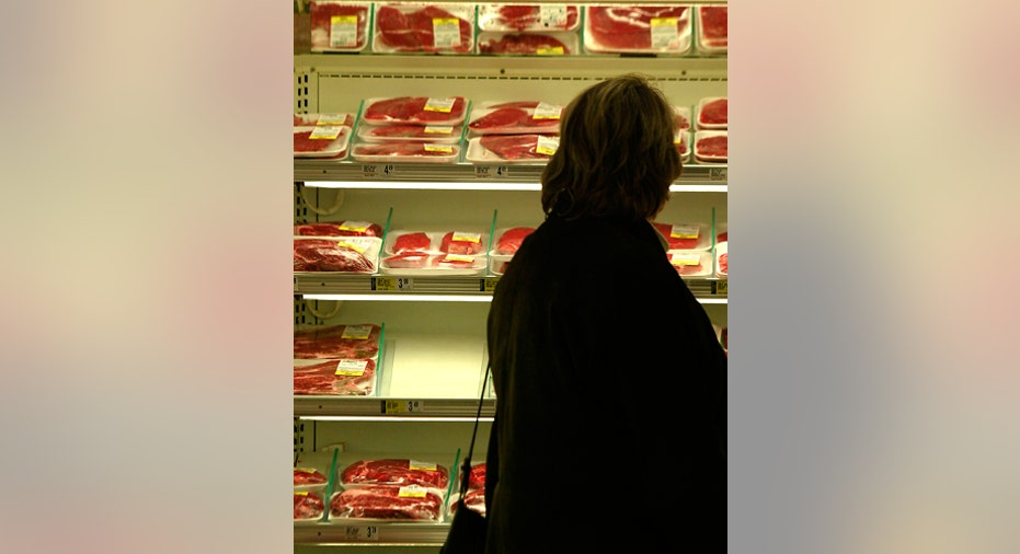 Steaks on a supermarket shelf