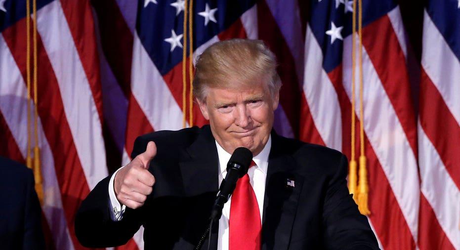 Trump election night thumbs up FBN