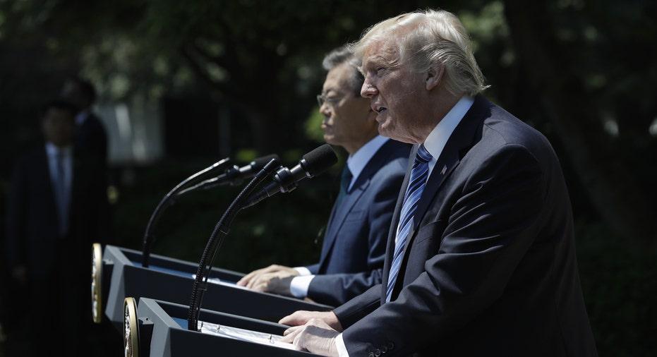 President Donald Trump, South Korea Moon Jae-in FBN AP