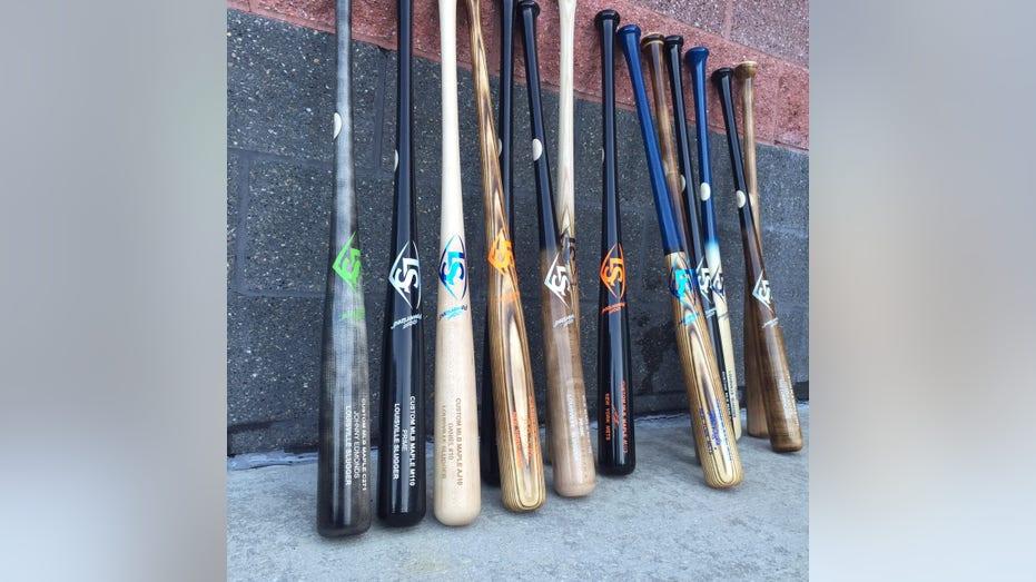 Louisville Slugger MLB Prime bats dugout FBN