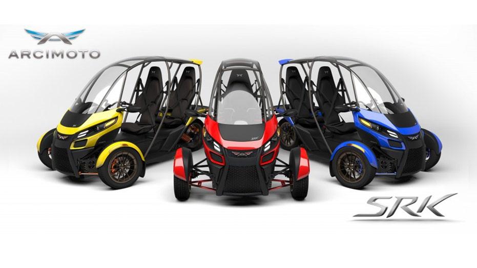 Arcimoto SRK vehicles on display FBN