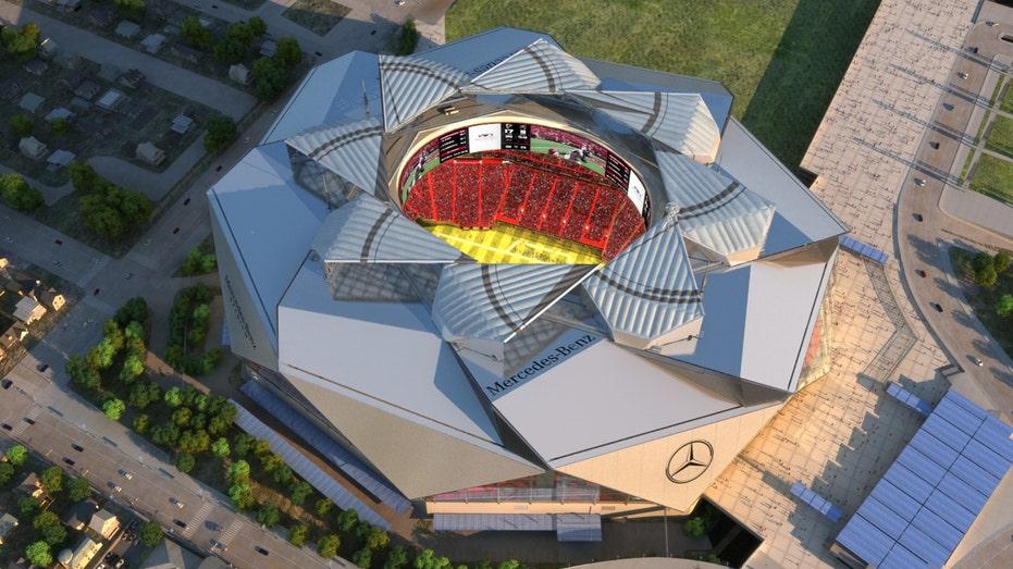 Atlanta Falcons Mercedes-Benz Stadium aerial FBN
