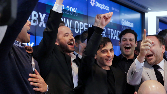 Shares of Dropbox surge in first day of trading