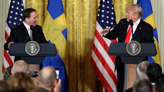 Trump, with Swedish PM at side, slams European mistreatment