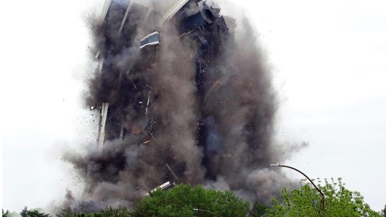 Defunct steelmaker's 21-story headquarters imploded