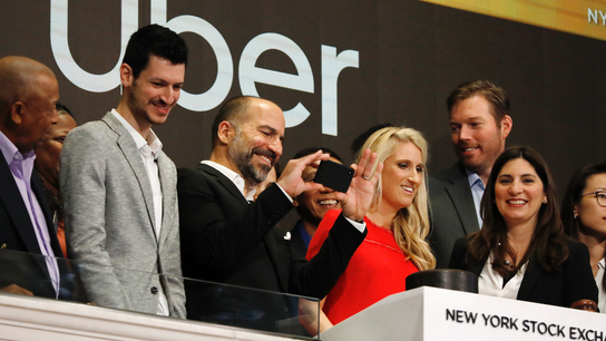 Uber's hyped-up IPO hits a few potholes on its first day