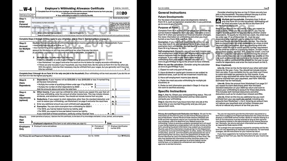 W4 2020 Printable.Irs Releases New W 4 Draft Here S What It Looks Like Fox