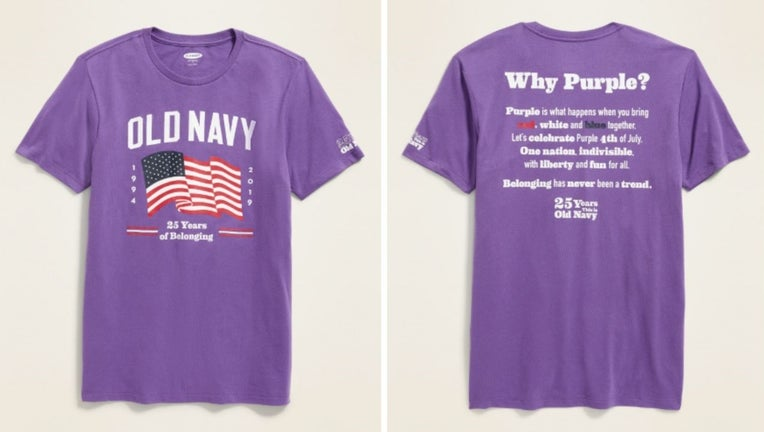 Old Navy selling new purple Fourth of July tees as part of anti-discrimination campaign