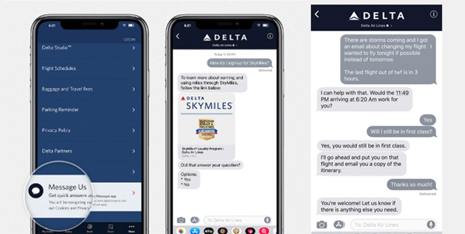 Delta testing ability to talk to customers with Messages app