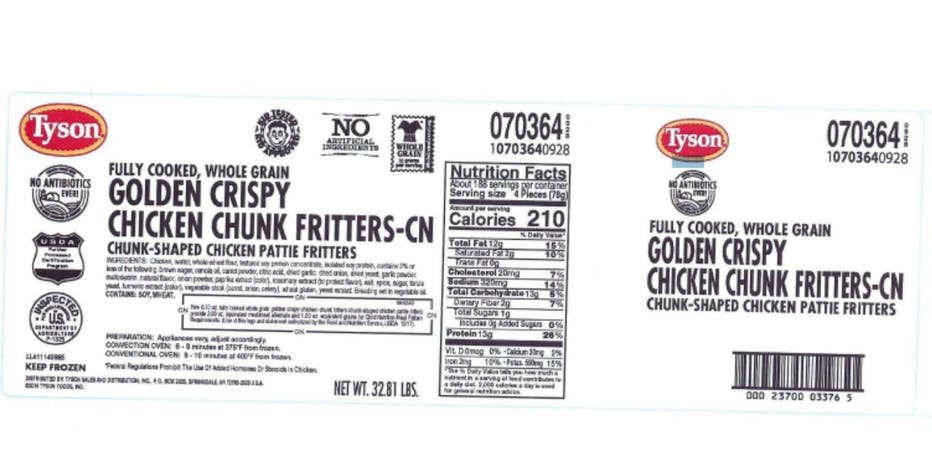 Tyson Foods recalled chicken fritters that were sold to schools and other institutions