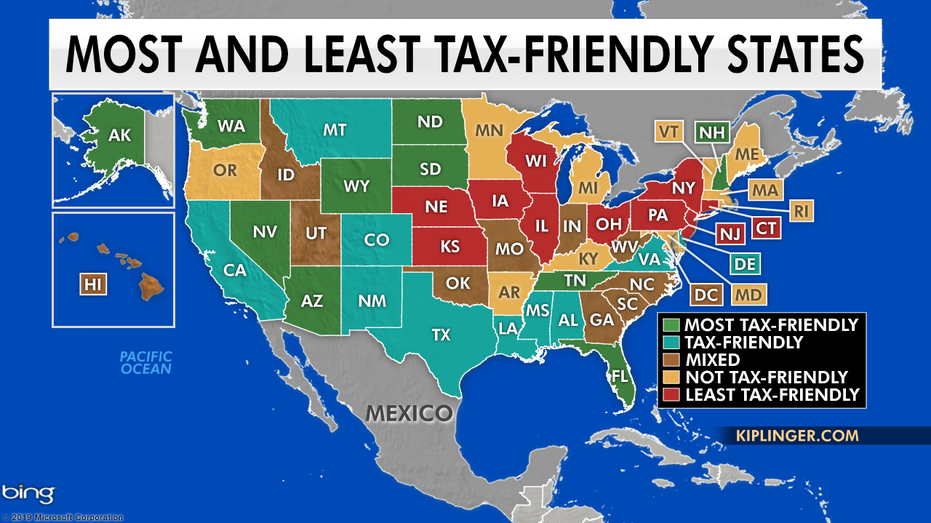 tax friendly retirement states map The Most And Least Tax Friendly States In The Us Fox Business