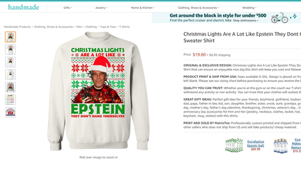 Jeffrey Epstein holiday sweaters step up the ugly trend
