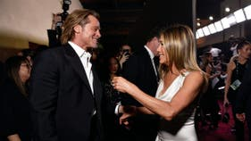 Jennifer Aniston and Brad Pitt reunite as he launches wine with Angelina Jolie