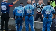 Harvick takes advantage of Hamlin's crash to win Brickyard