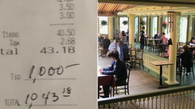 Customer leaves $1,000 tip at New Jersey restaurant. Read the note here.