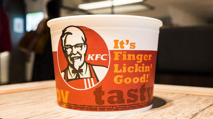 """KFC bends the knee. Changes slogan to appease the Covid Hoax nanny state. No more """"finger lickin' good"""". (foxbusiness.com)"""