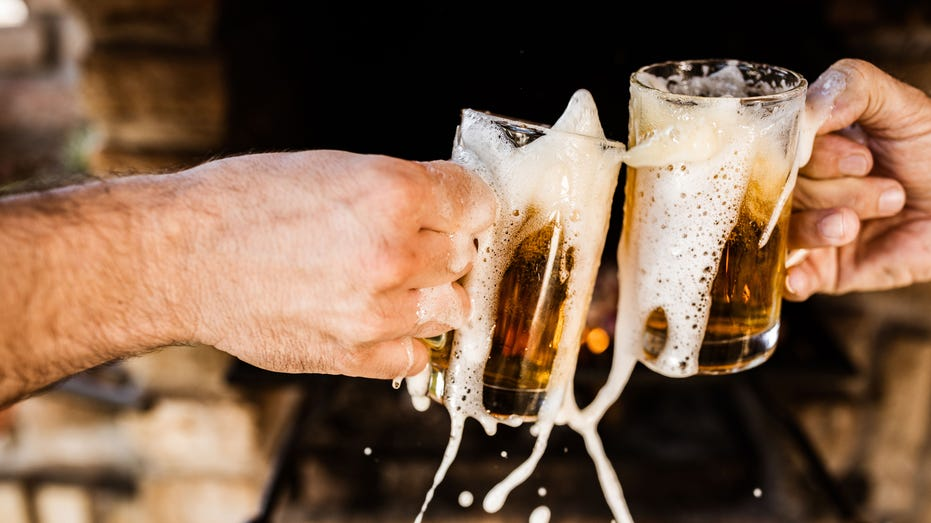 Spilling beer during a toast!