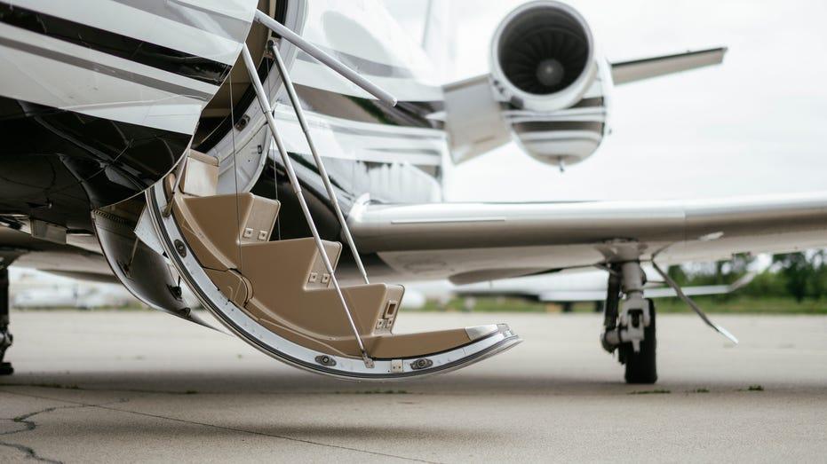 Private Jet. Airport. Private Plane. Runaway. Private plane ready for boarding