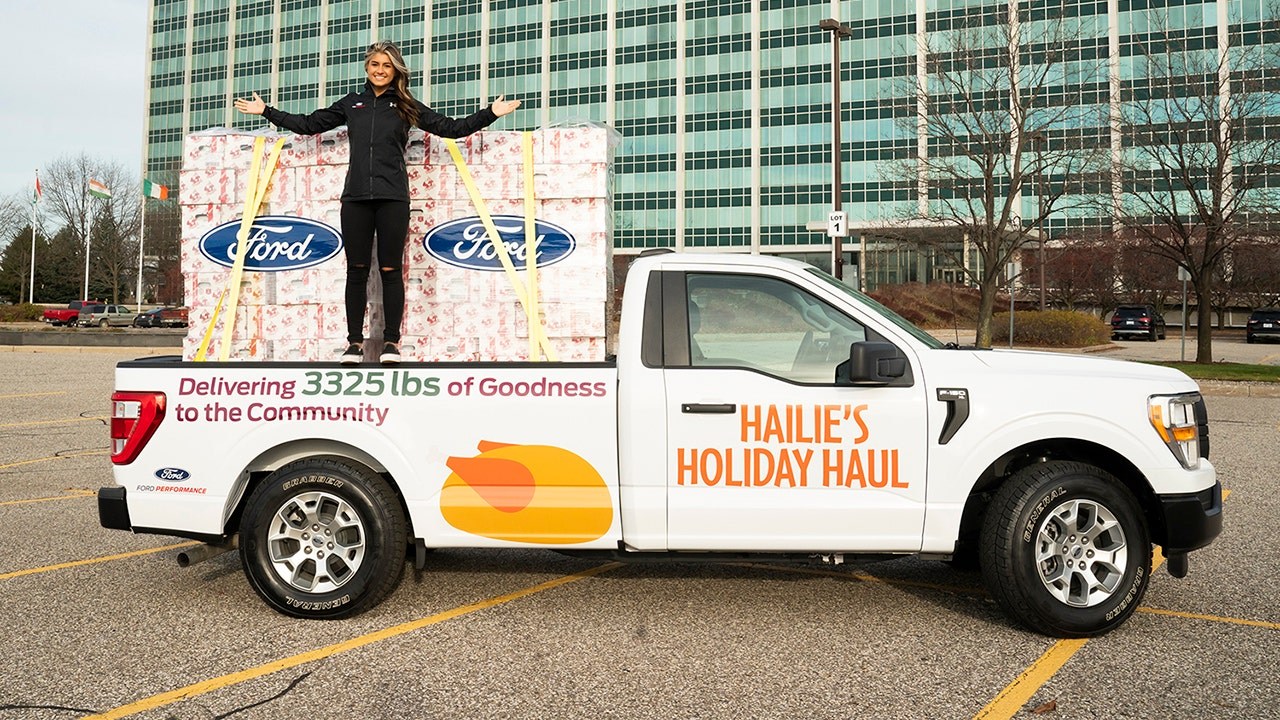 Ford NASCAR driver Hailie Deegan delivered over 1.5 tons of donated turkeys in an F-150
