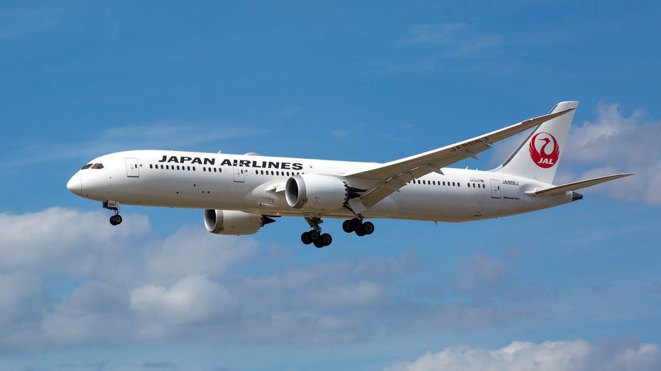 Boeing 787 of JAL, Japan Airlines approaching Frankfurt International Airport