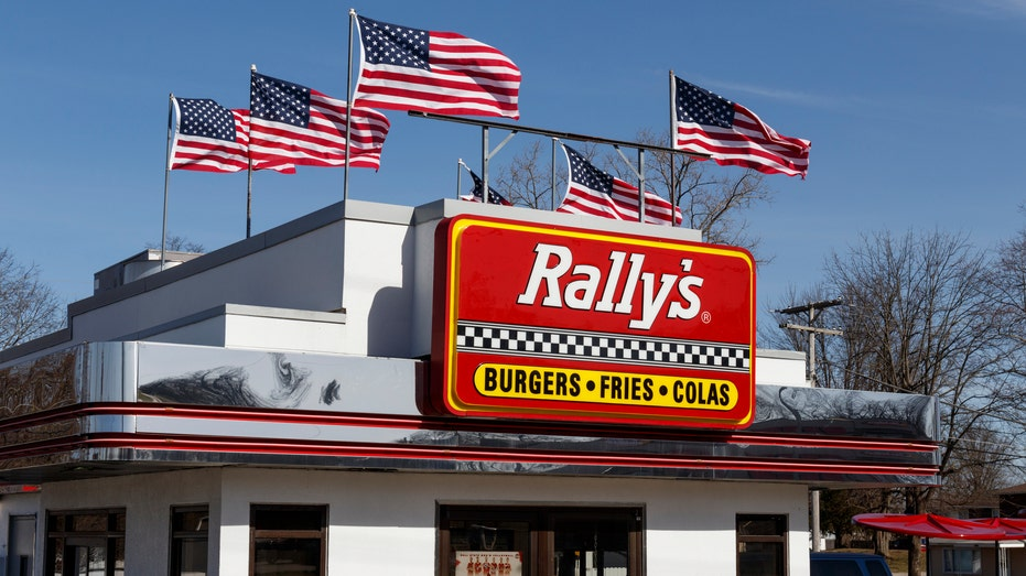 Rally's Drive Thru fast food restaurant. Rally's is the sister of Checkers