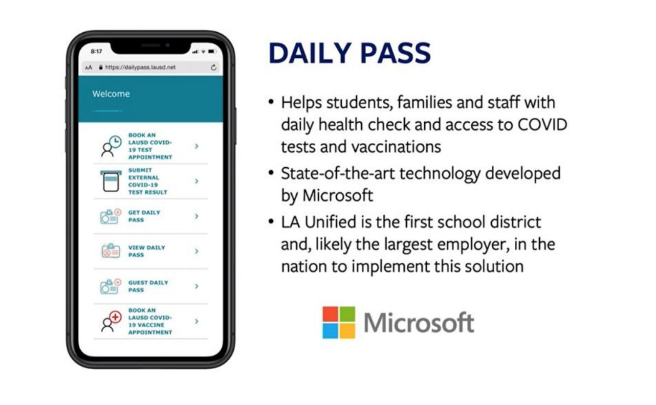 Daily Pass, developed with support from Microsoft, generates a unique QR code for each student and staff member that authorizes entry to a specific Los Angeles Unified location for that day only, as long as the individual receives a negative test result for C…