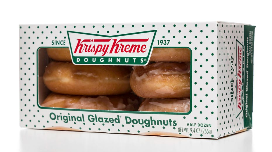 Box of half a dozen Krispy Kreme Original Frozen Donuts