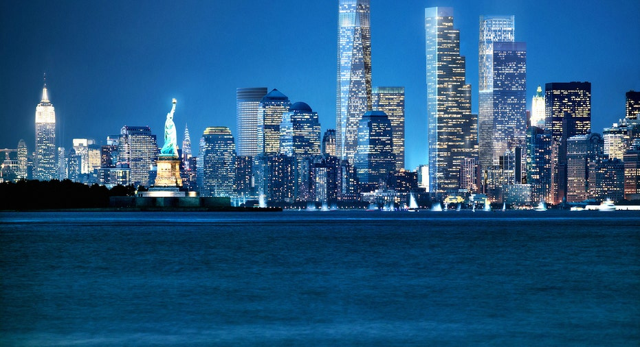 A rendering of the 2 World Trade Center office building from across the Hudson River