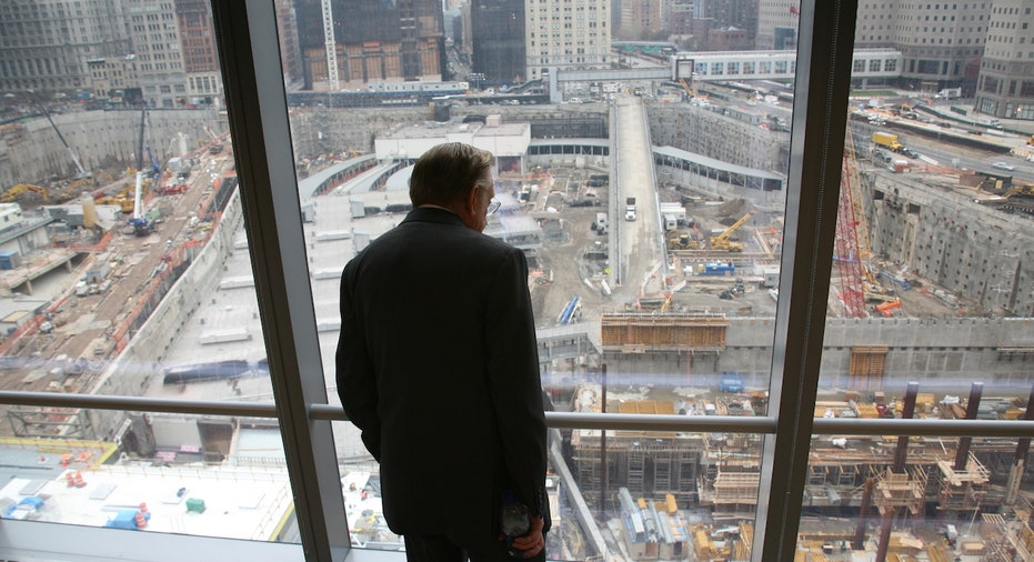 Larry Silverstein looks out the window the new World Trade Center 7 building