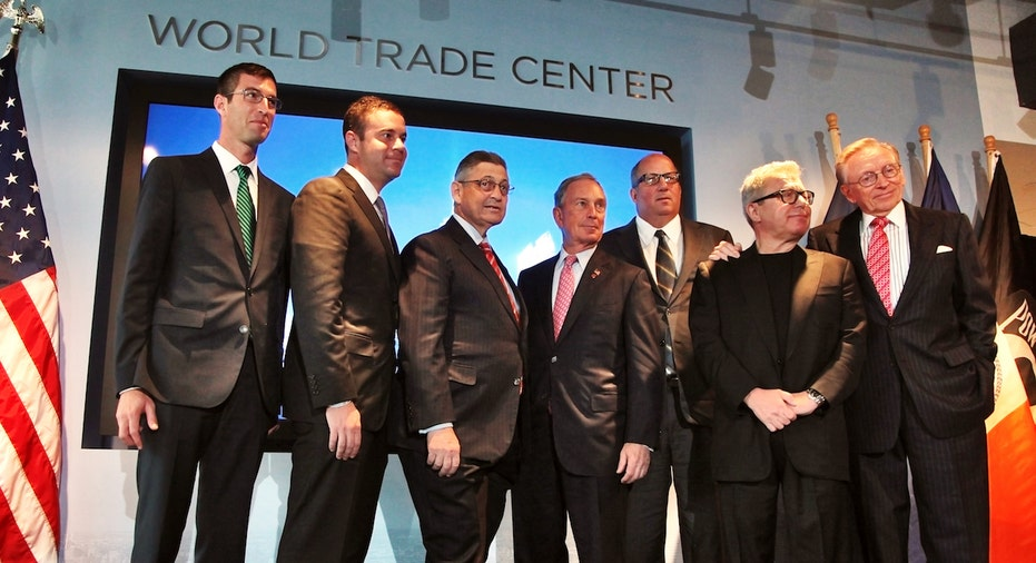 Silverstein Properties Chairman Larry Silverstein, former New York City mayor Mike Bloomberg, World Trade Center master planner Daniel Libeskind, and National 9/11 Memorial architect Michael Arad pose for a photo at a Sept. 11 press conference