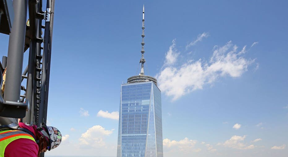 A contruction work high above on the rebuilding of the World Trade Center