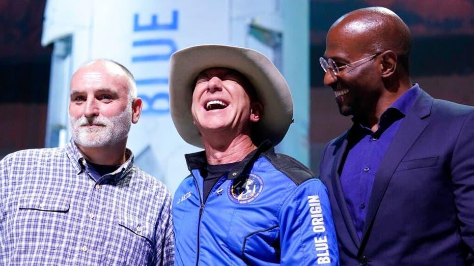 Jeff Bezos with Jose Andres and Van Jones