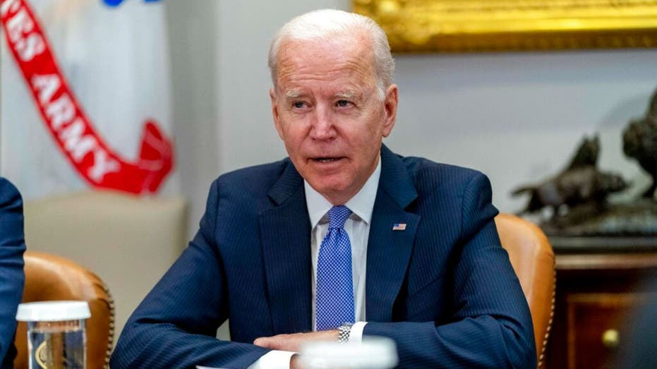 President Joe Biden at a meeting with union and business leaders