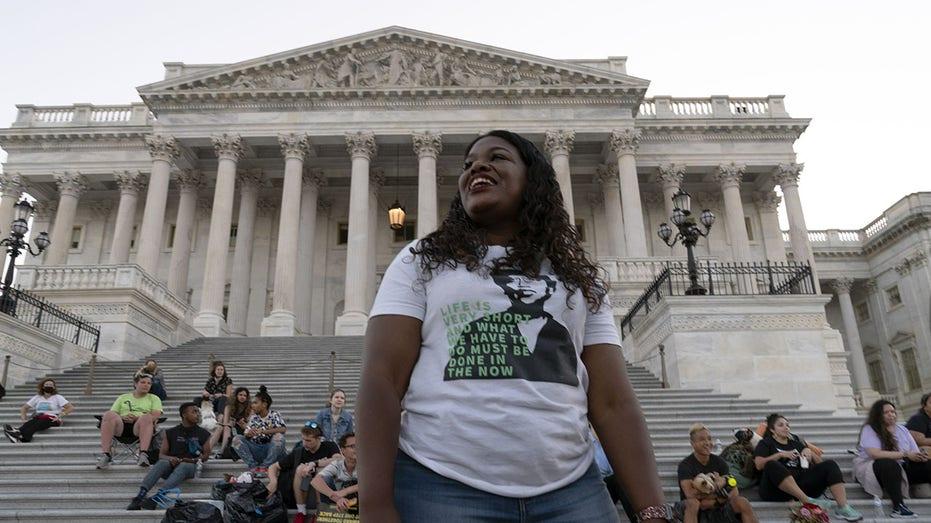 Rep. Cori Bush, R-Mo., protests the lapse of the eviction moratorium