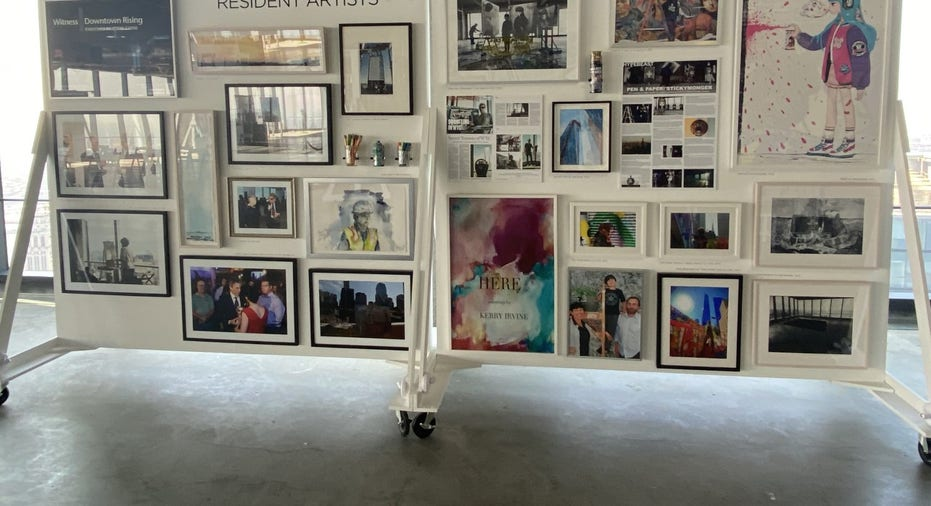"""Artifacts from the """"Top of the World"""" exhibition, telling the story of the rebuilding efforts after 9/11 terror attacks on the Twin Towers"""