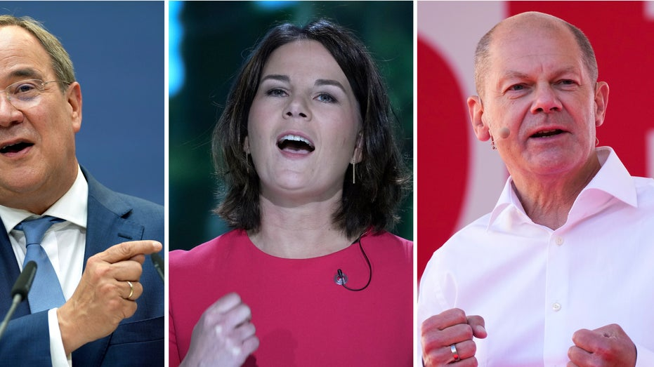 Olaf Scholz of the Social Democrats, Anna-Lena Baerbock of the Greens and Armin Laschet of the Christian Democrats, from right, during different election campaigns in Germany.