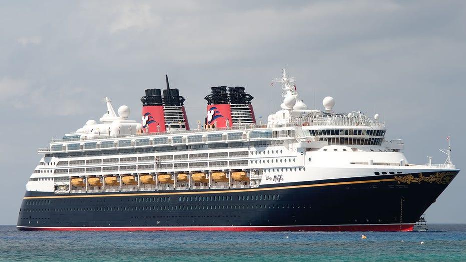 Disney Magic cruise ship at the coast of Grand Cayman