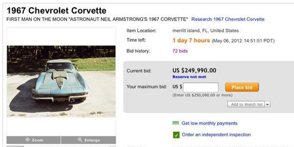 Ebay Auction Of Neil Armstrong S Corvette Ends But Did It Sell Fox News