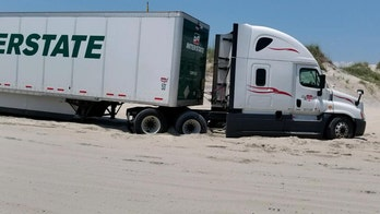 Semi-truck gets stranded on North Carolina beach after GPS gives wrong directions
